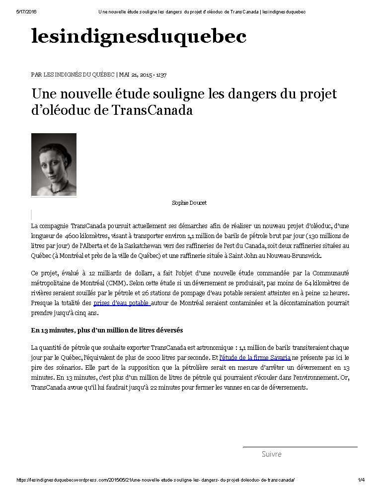 Une nouvelle étude souligne les dangers du projet d'oléoduc de TransCanada _ lesindignesduquebec_Page_1